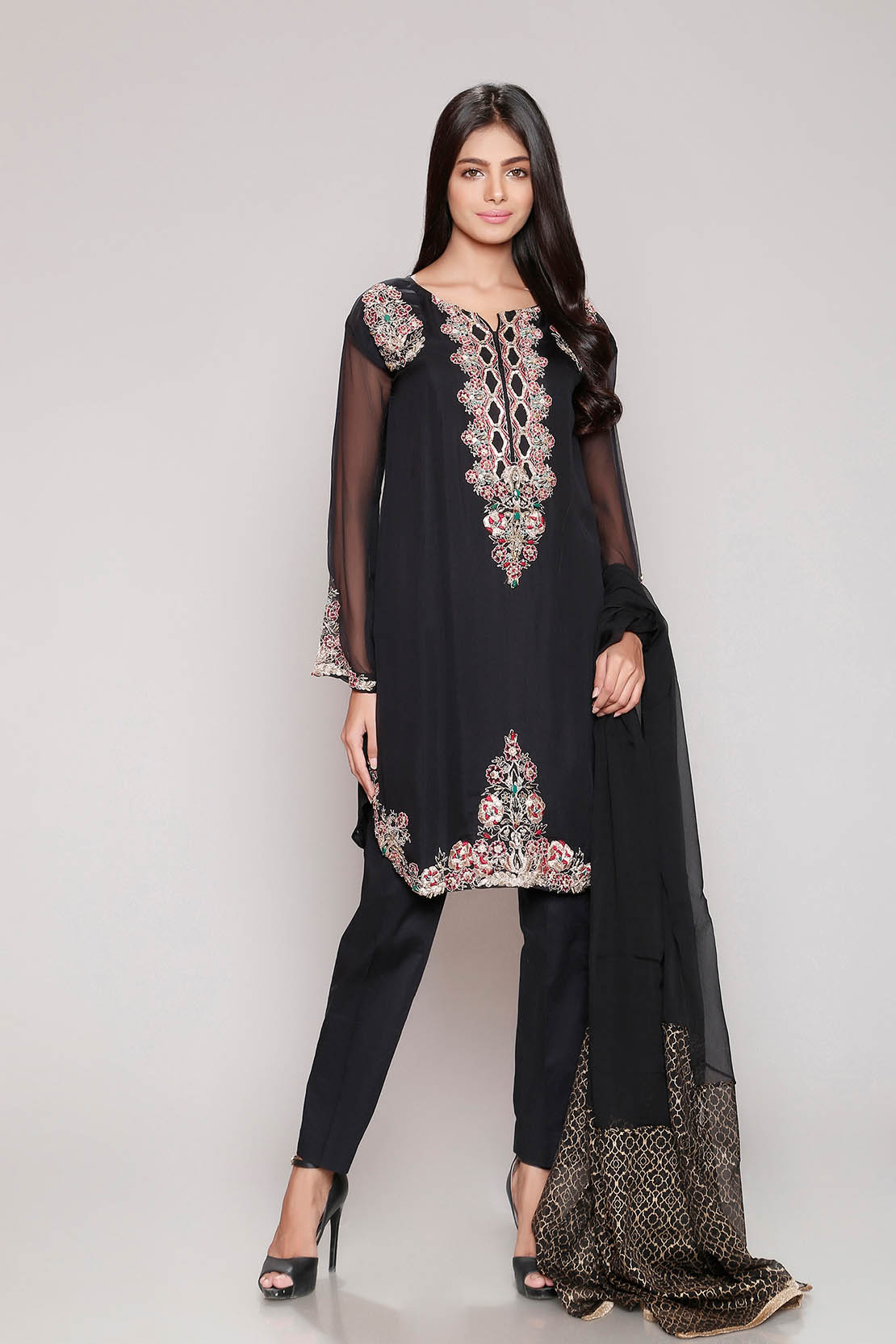 Chinyere Crinkal Chiffon Summer Prints Vol 2 Stitched 2 Piece Suit Festivity in Black