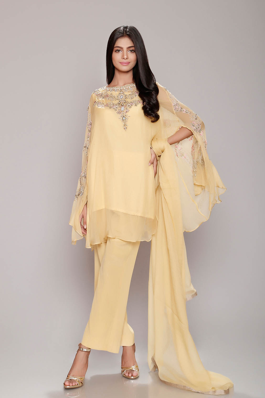 Chinyere Crinkal Chiffon Summer Prints Vol 2 Stitched 2 Piece Suit Lemon Bell in Yellow