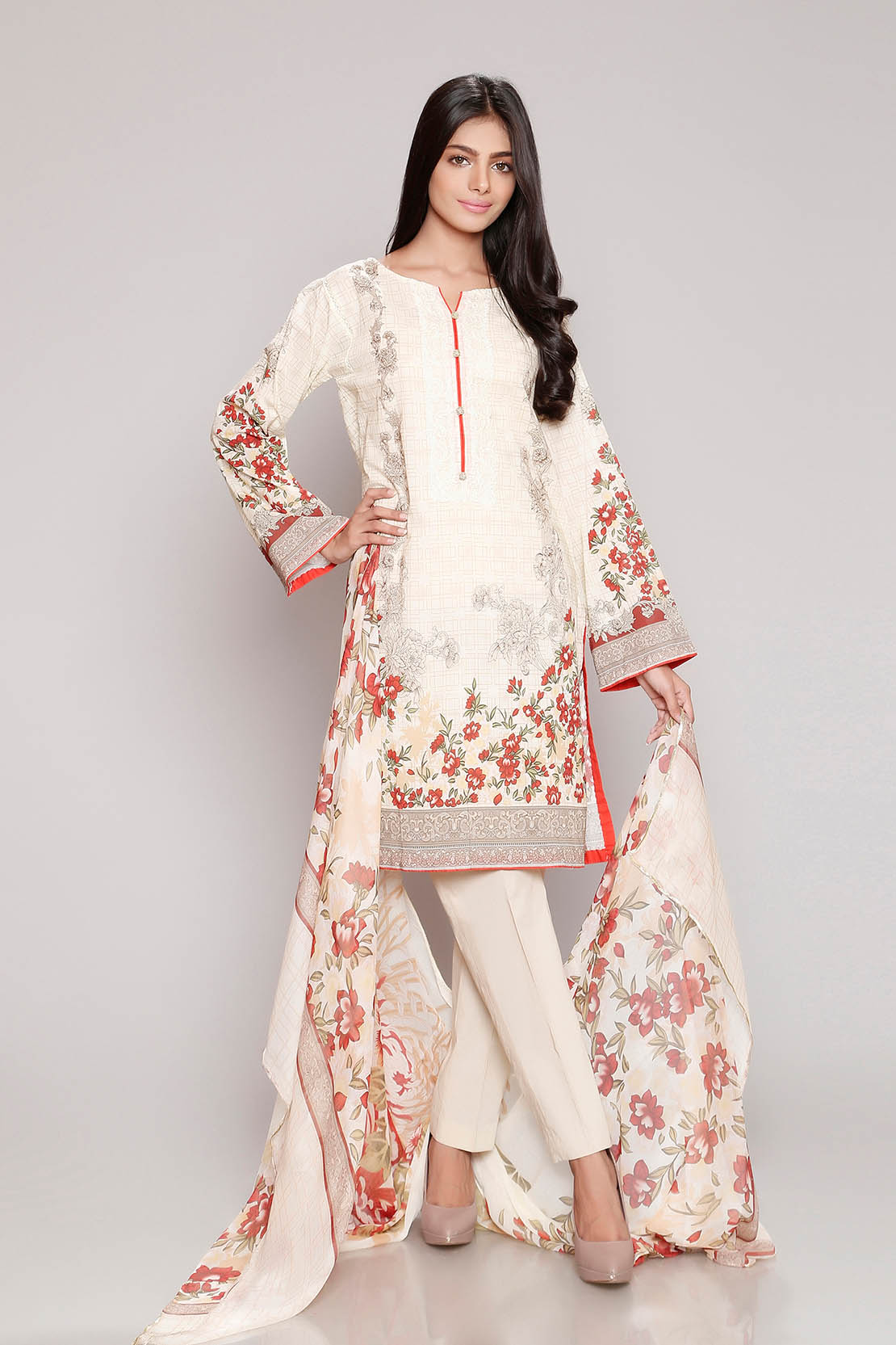 Chinyere Lawn Summer Prints Vol 2 Stitched 2 Piece Suit Baroque Bunch in Multi