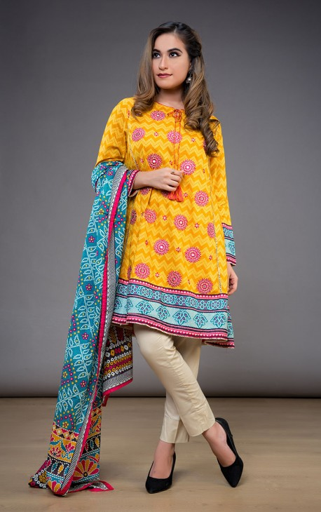Oaks Embroidered Printed Lawn Pret Collection Unstitched 2 Piece Suit
