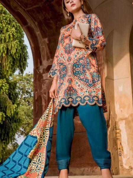 Zeen Woman Symmetrical Delights - Stitched WL386001-Persian-Blue