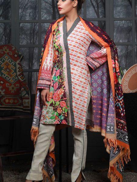 Zellbury Winter Collection Floral Cross Khaddar-Shawl 3pcs