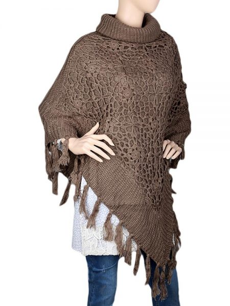 Women's Poncho Sweater - Brown