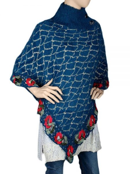 Women's Poncho Sweater - Steel Blue
