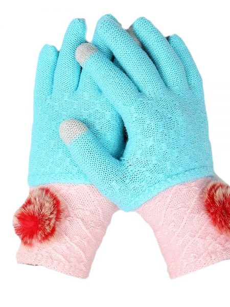 Women's Woolen Gloves - Cyan