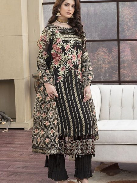 Motifz Luxury Collection 2145-COAL-BLACK EMBROIDERED CRINKLE CHIFFON UNSTITCHED