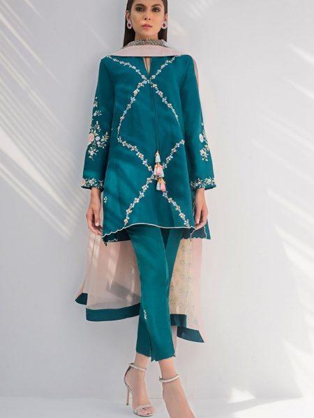Sania Maskatiya Raw silk embroidered shirt with dupatta