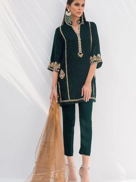Sania Maskatiya Velvet embroidered shirt