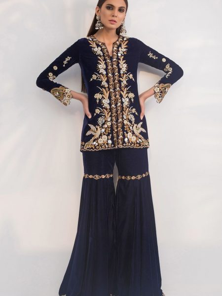 Sania Maskatiya Velvet hand embroidered jacket