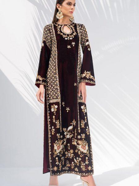 Sania Maskatiya Zardoze worked velvet shirt