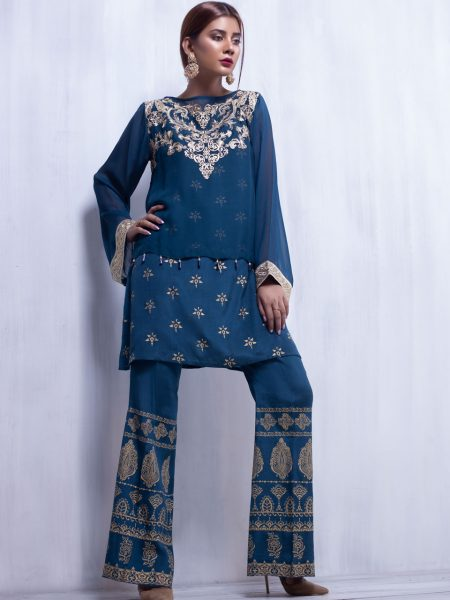Artimmix CHIFFON EMBROIDERED SUIT WITH TROUSER AR02313