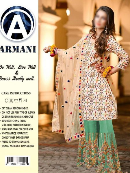 FULL LAWN SUIT WITH BAMBER EMB DUPATTA.