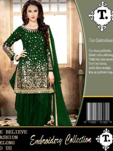 Indian-Net Bridal Embroidery Shesha Work Suit