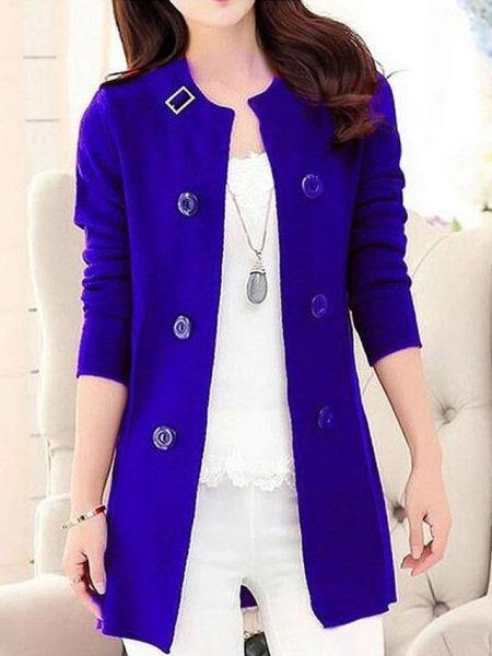 Stylish Blue Fleece Korean Coat for Women
