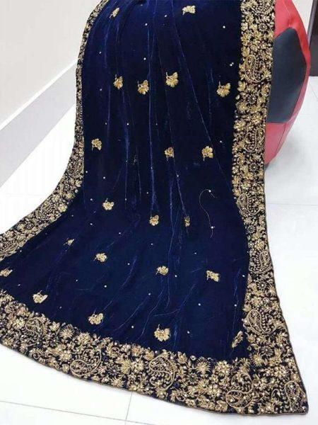 Velvet Shawl Navy Blue