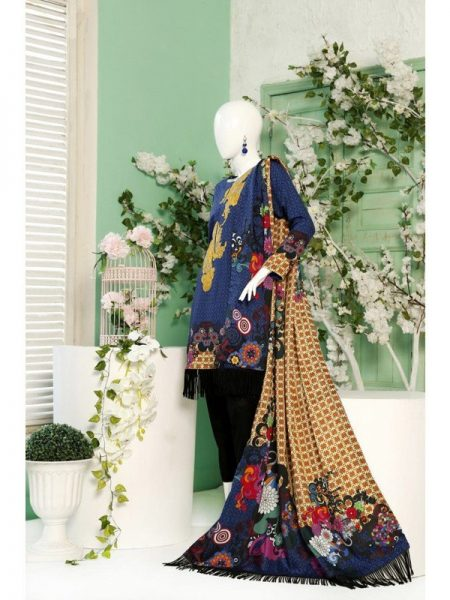 Winter Collection 2018 Graphic Flora Unstitched Suit By Dimity