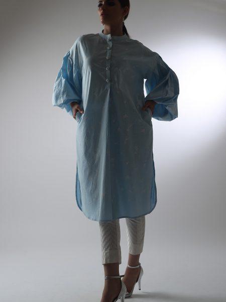 Alkaram Studio Catalyst Collection Printed Cambric Shirt C-1A-19-2-Blue