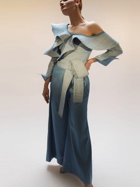 Alkaram Studio Catalyst Collection Printed Denim Shirt C8B-19-Blue