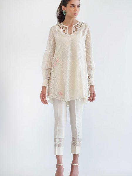 Sania Maskatiya Cut work embroidered shirt PD4969