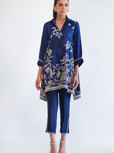 Sania Maskatiya Embroidered jamawar shirt PD4964