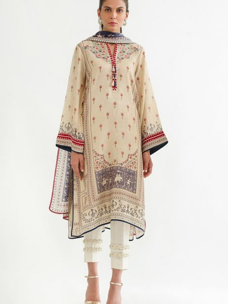 Sania Maskatiya Printed cotton net shirt with dupatta PD4954