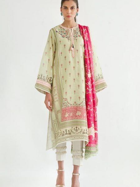 Sania Maskatiya Printed cotton net shirt with dupatta PD5030