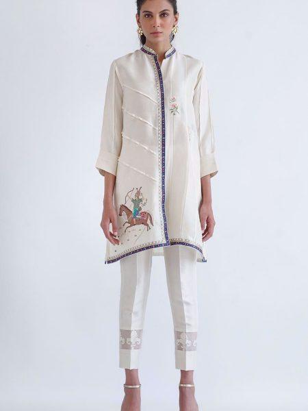Sania Maskatiya Raw silk embroidered shirt PD4928