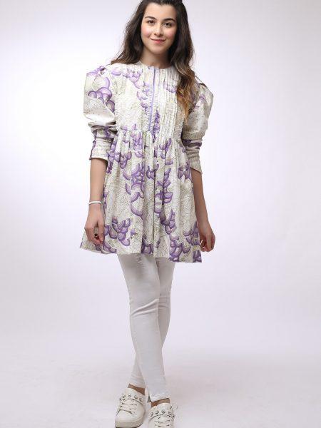 Alkaram Studio Mak Spring Summer 1 Piece Printed Cotton Satin Shirt MAK-F-001-19-2-Purple