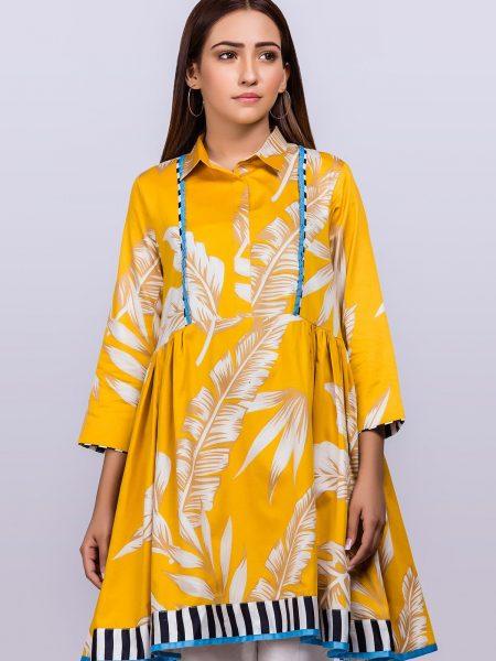 Alkaram Studio Printed Cotton Satin Kurti GFKU3193-Yellow