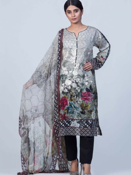 Bonanza Satrangi Gray-Cotton Satin-Suit ESSK92P008-GRAY
