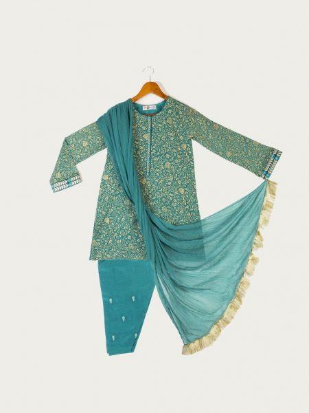 Bonanza Satrangi Green-Chiffon-Suit TKPK3P004A-GREEN