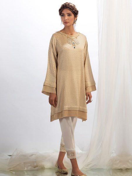Farah Talib Aziz Fawn jewelled shirt with dupatta