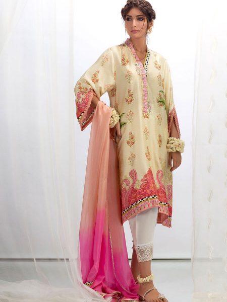 Farah Talib Aziz Fawn paisley with dupatta