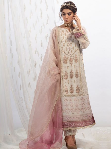 Farah Talib Aziz Ivory rose cotton net shirt with dupatta