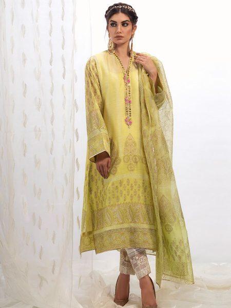 Farah Talib Aziz Lemon cotton net shirt with dupatta