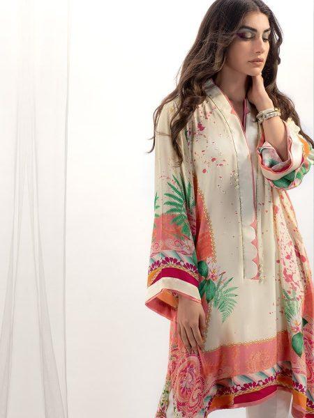 Farah Talib Aziz Melon scarf crepe silk tunic