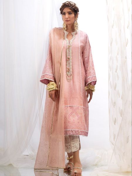 Farah Talib Aziz Mulberry cotton net shirt with dupatta