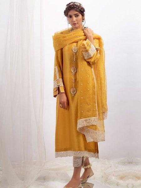 Farah Talib Aziz Mustard raw silk shirt with dupatta