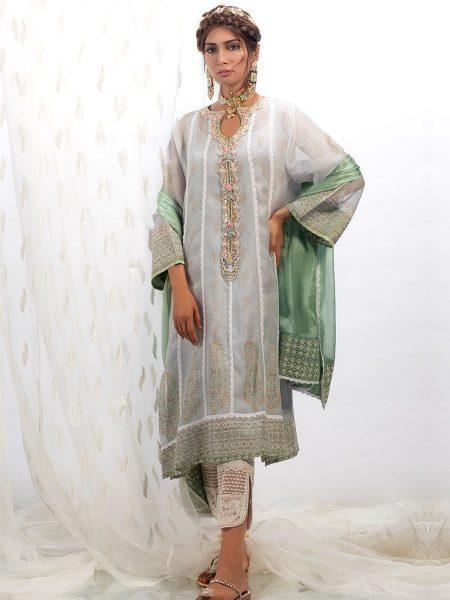 Farah Talib Aziz Periwinkle blue cotton net shirt with dupatta