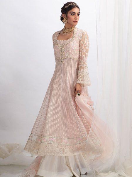 Farah Talib Aziz Pink pearl kalidaar with dupatta