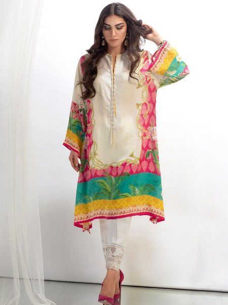 Farah Talib Aziz Tropical scarf crepe silk tunic
