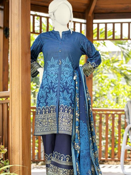 Junaid Jamshed Festive Collection-ii JLAWN-S-19-0197 Blue Shine