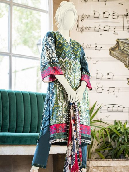 Junaid Jamshed Festive Collection-ii JLAWN-S-19-0200 Blue Flint