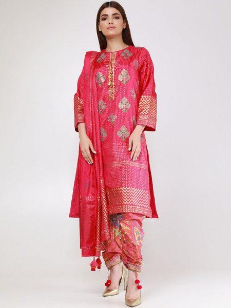 Khaadi Block Print Kurta KKDBP19203-Pink