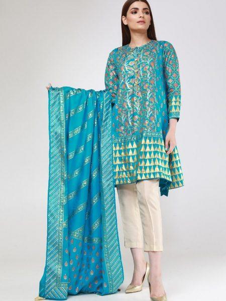 Khaadi Block Print Kurta KKDBP19204-Turquoise