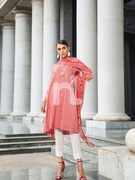 Nishat Linen Vol-2 41907217-Blended Crinkle Chiffon & Slub Lawn Red Printed 2PC