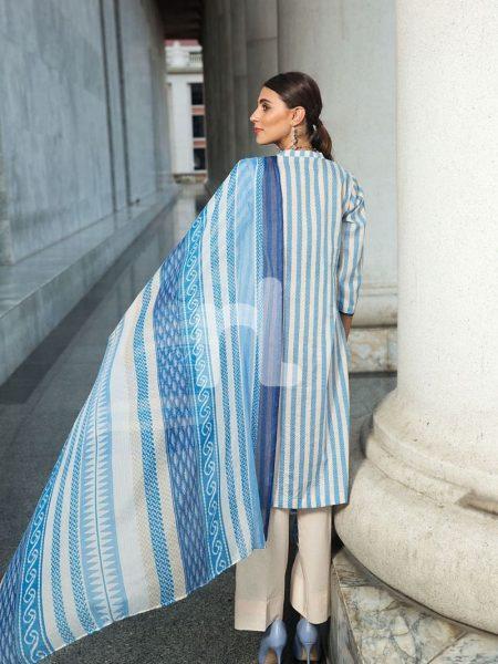 Nishat Linen Vol-2 41907220-Blended Crinkle Chiffon & Slub Lawn Blue Printed 2PC