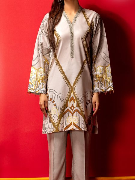 Salitex Stitched Digital Printed Embroidered Lawn Kurta with Embellishments 1Pc Casual Pret CP-08