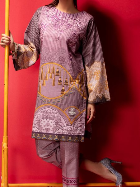 Salitex Stitched Digital Printed Embroidered Lawn Kurta with Embellishments 1Pc Casual Pret CP-09