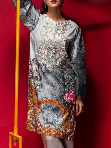 Salitex Stitched Digital Printed Embroidered Lawn Kurta with Embellishments 1Pc Casual Pret CP-10